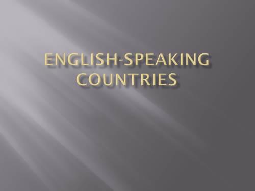 English speaking countries — Англоговорящие страны