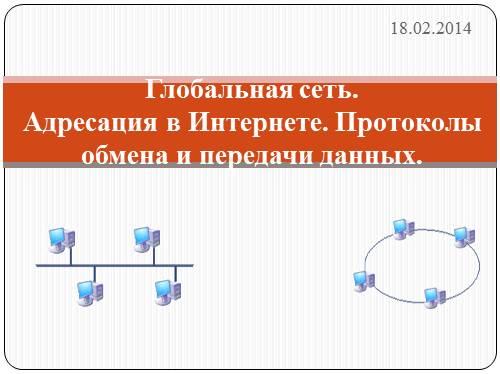 Глобальная сеть. Адресация в Интернете. Протоколы обмена и передачи данных.