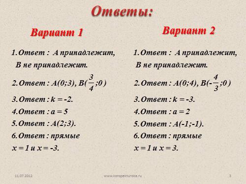 Контрольная работа Линейная функция презентация по алгебре класс Вариант 1 Вариант 2 Ответы