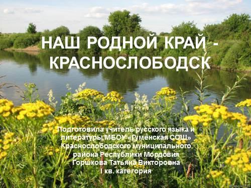 Мой родной город — Краснослободск