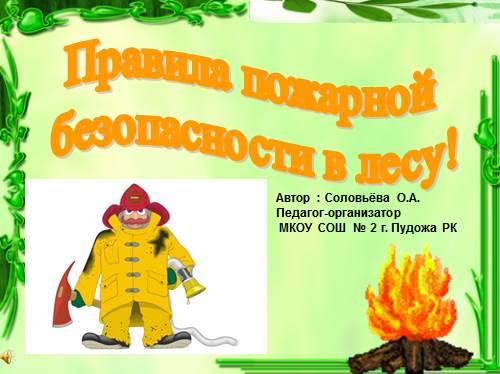 Правила пожарной безопасности в лесу!