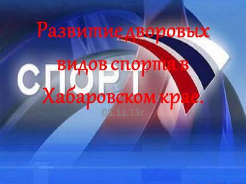 Развитие дворовых видов спорта в Хабаровском крае