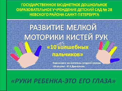 Развитие мелкой моторики кистей рук