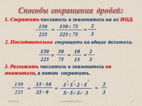 Сокращение дробей - презентация по математике 6 класс Сокращение Дробей