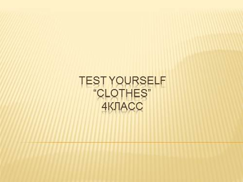 Test Yourself «Одежда»