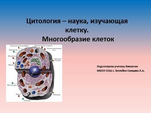 Цитология – наука, изучающая клетку. Многообразие клеток.
