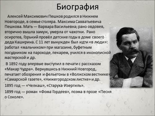 Презентация м.горького
