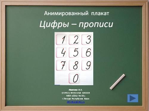 Учимся писать цифры (анимированный плакат)