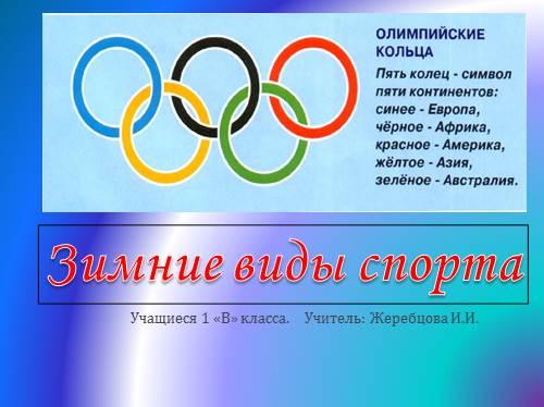 Презентация Зимние виды спорта класс Учащиеся 1 В класса Учитель Жеребцова И И Зимние виды спорта