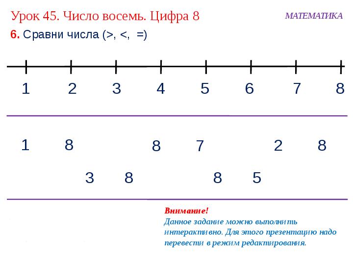 знакомство с цифрой 8 1 класс