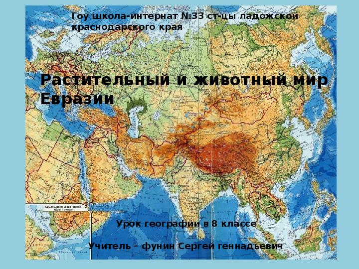 Презентация, Евразия, растительный и животный мир