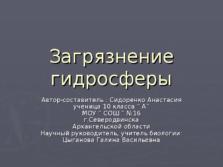 Презентация Загрязнение гидросферы