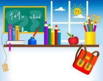 Рисунок с изображением портфеля, карандашей и школьной доски