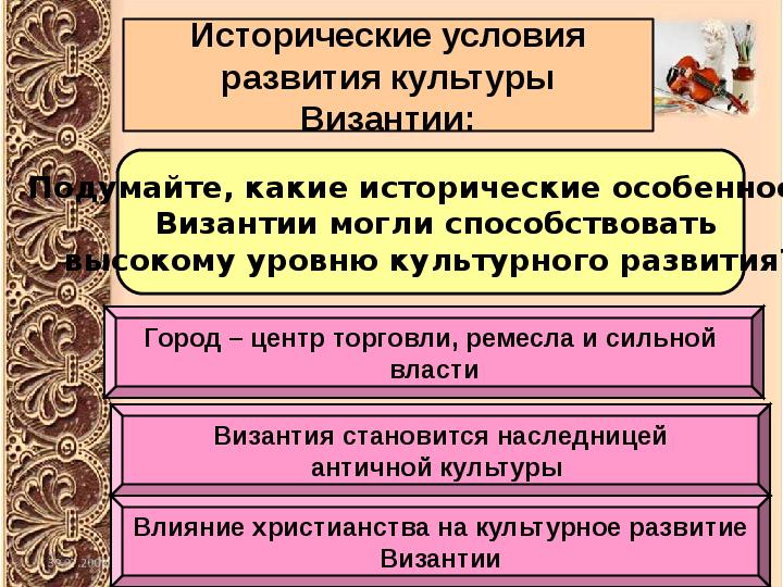 Презентация на тему культуры византии 6 класс