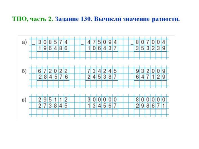 Примеры на вычитание столбиком для среднего звена