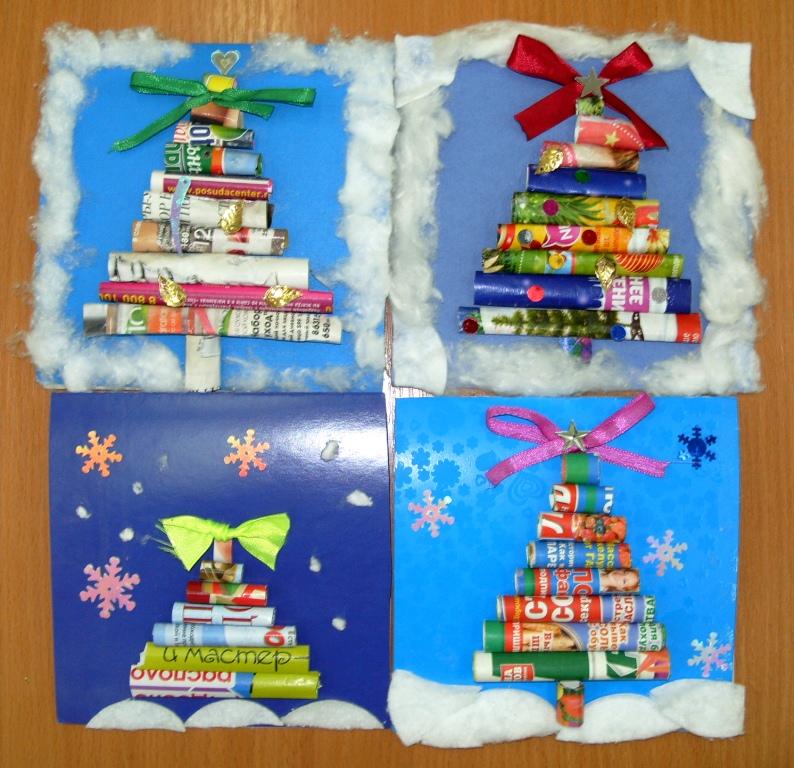 Аппликация на новогоднюю открытку