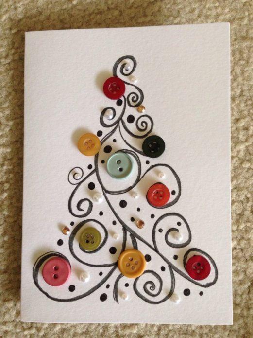 Аппликация с новогодней елкой из пуговиц