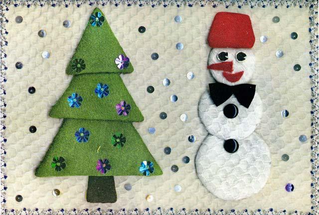 Новогодняя аппликация с елкой и снеговиком