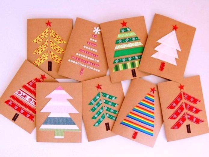 Аппликация с новогодней елкой