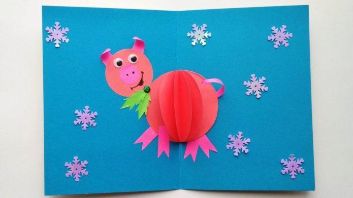 Новогодняя аппликация-открытка из цветной бумаги