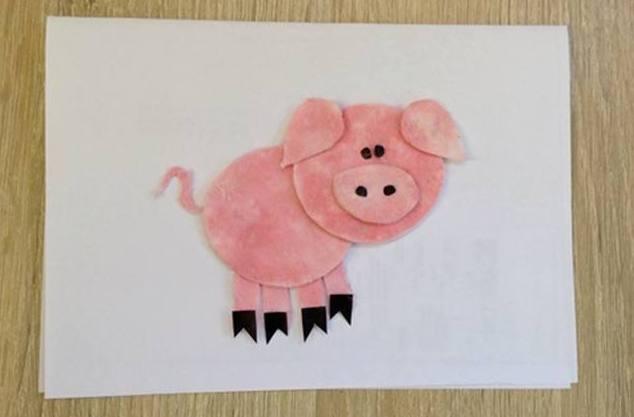 Аппликация с символом года — свиньей