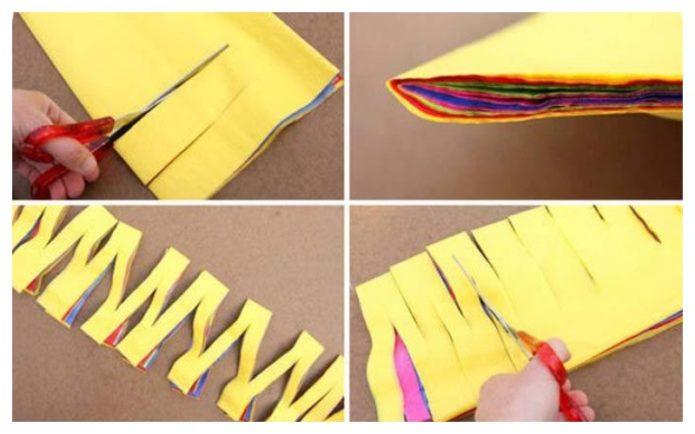 Сеточная гирлянда из цветной бумаги