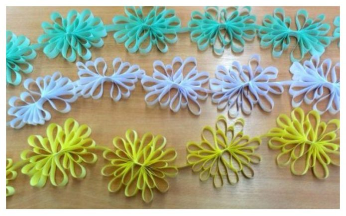 Снежинки из цветного картона или декоративных лент