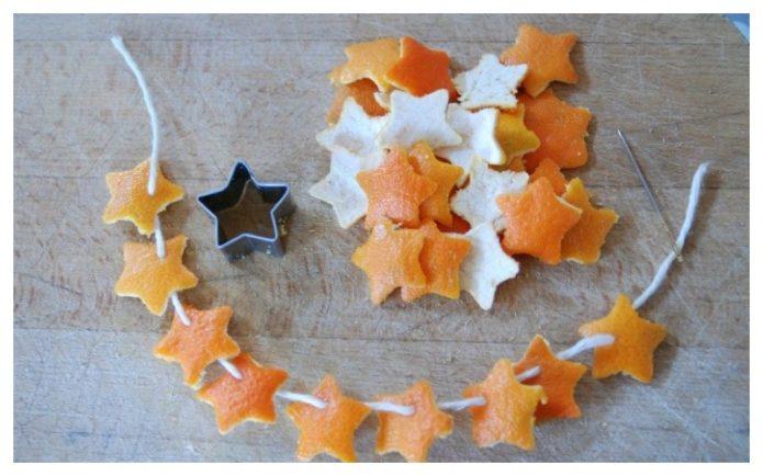 Аромантый декор из апельсиновой кожуры