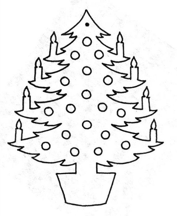 Шаблон вытынанки с новогодней елкой