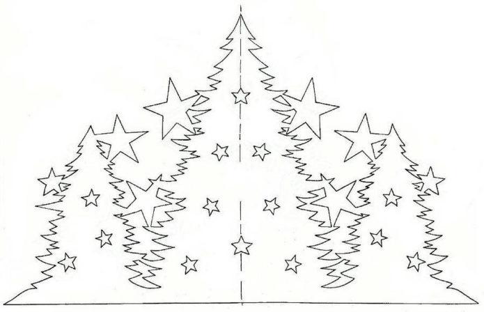 Новогодняя вытынанка из бумаги