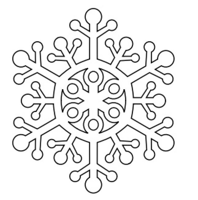 Шаблон ажурной снежинки для Нового года