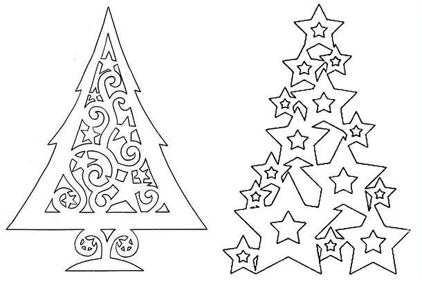 Новогодняя ель — шаблон для вытынанки
