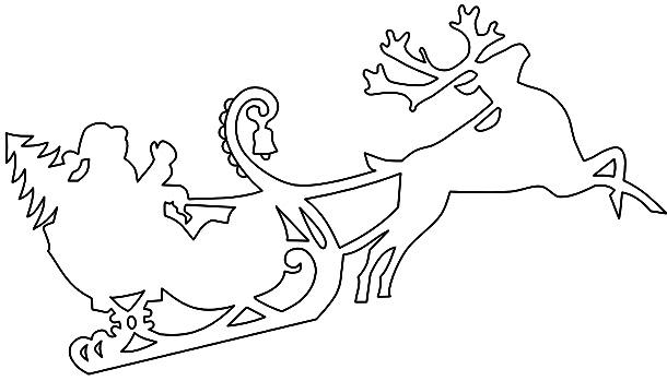 Сани с Дедом Морозом из бумаги