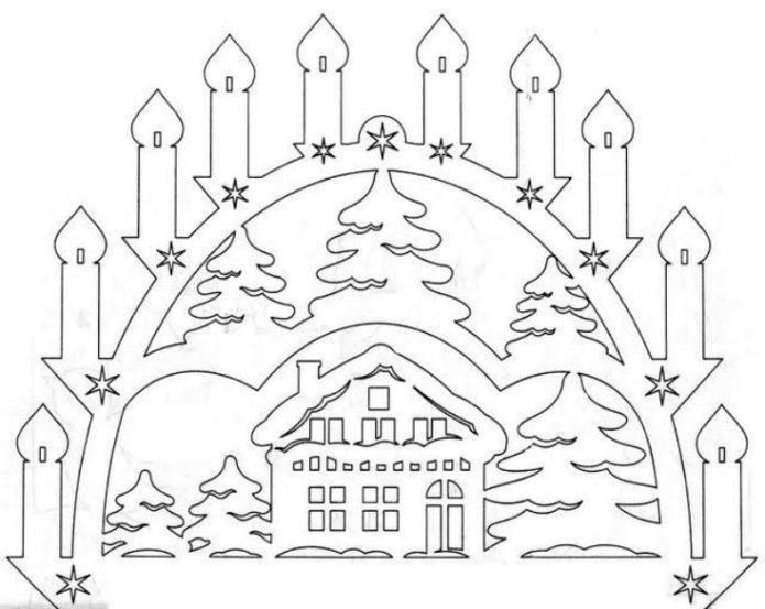 Праздничная вытынанка — шаблон к Новому году