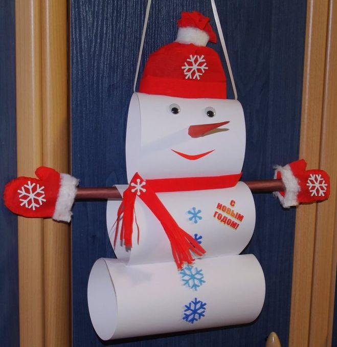 Снеговик-панно из бумаги своими руками