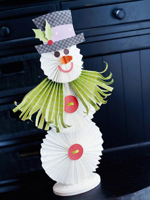 Идея изготовления снеговика из бумажных элементов