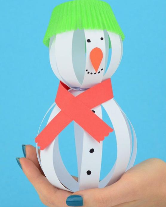 Вариант изготовления снеговика из объёмных бумажных шаров
