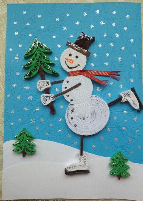 Симпатичный снеговичок в технике квиллинг