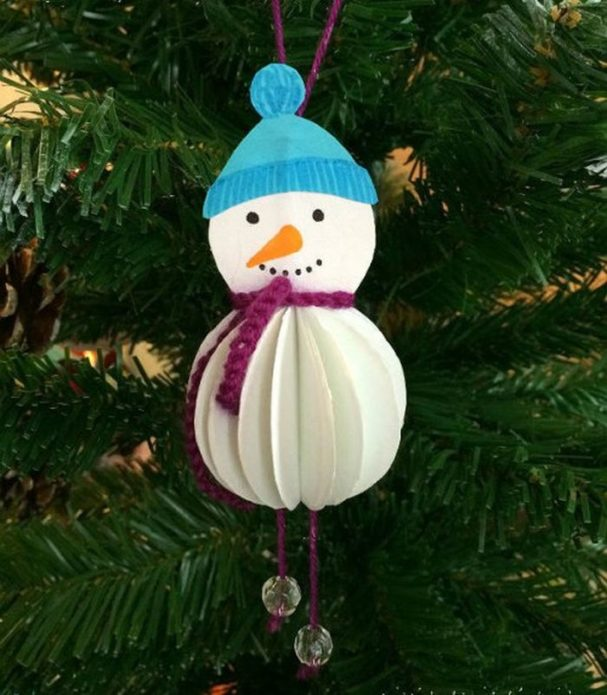 Объёмный снеговичок на ёлку