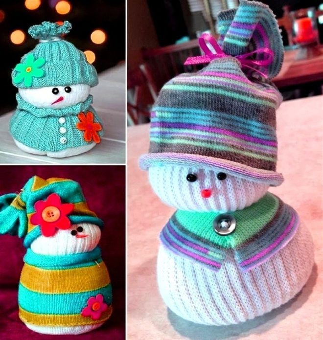 Идеи снеговиков из носочков