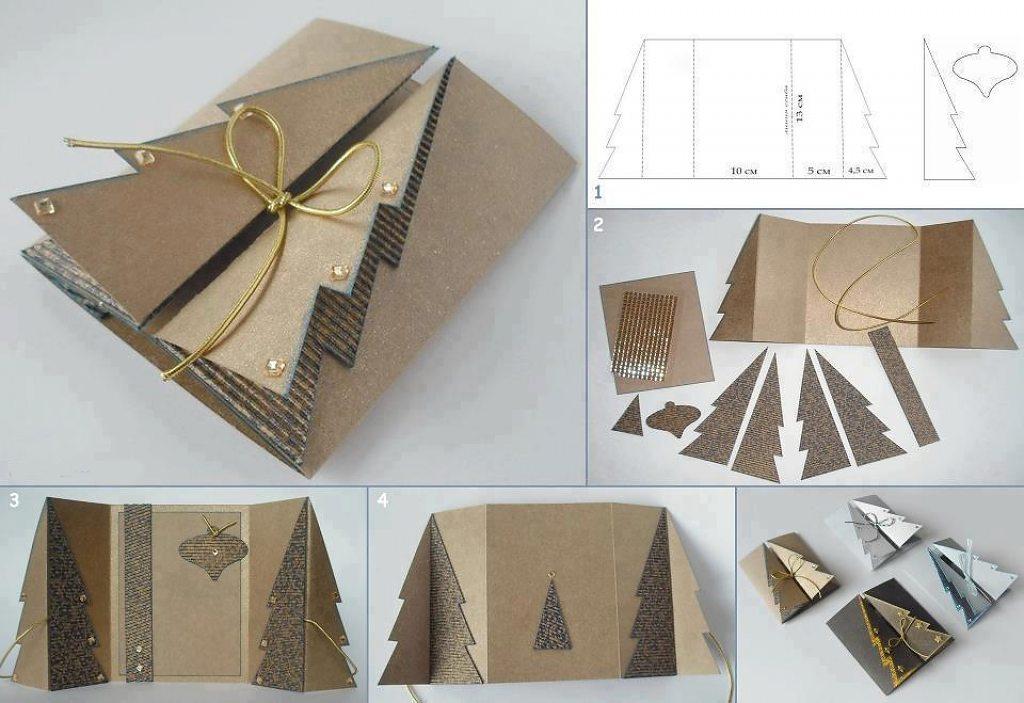 Открытки, сделать открытку с елкой своими руками