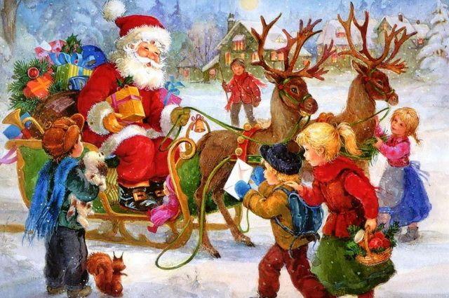 Дед Мороз на санях раздаёт подарки детям