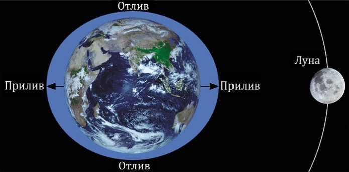 Приливы и отливы на Земле в морях и океанах
