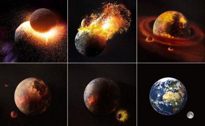 Теория происхождения Луны в результате столкновения Земли с крупным небесным телом